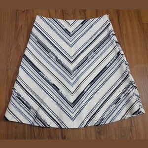 Zara Basic A-Line Skirt Size XS Blue White Beige